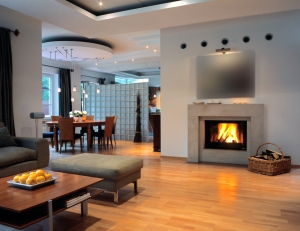 open space with fire place